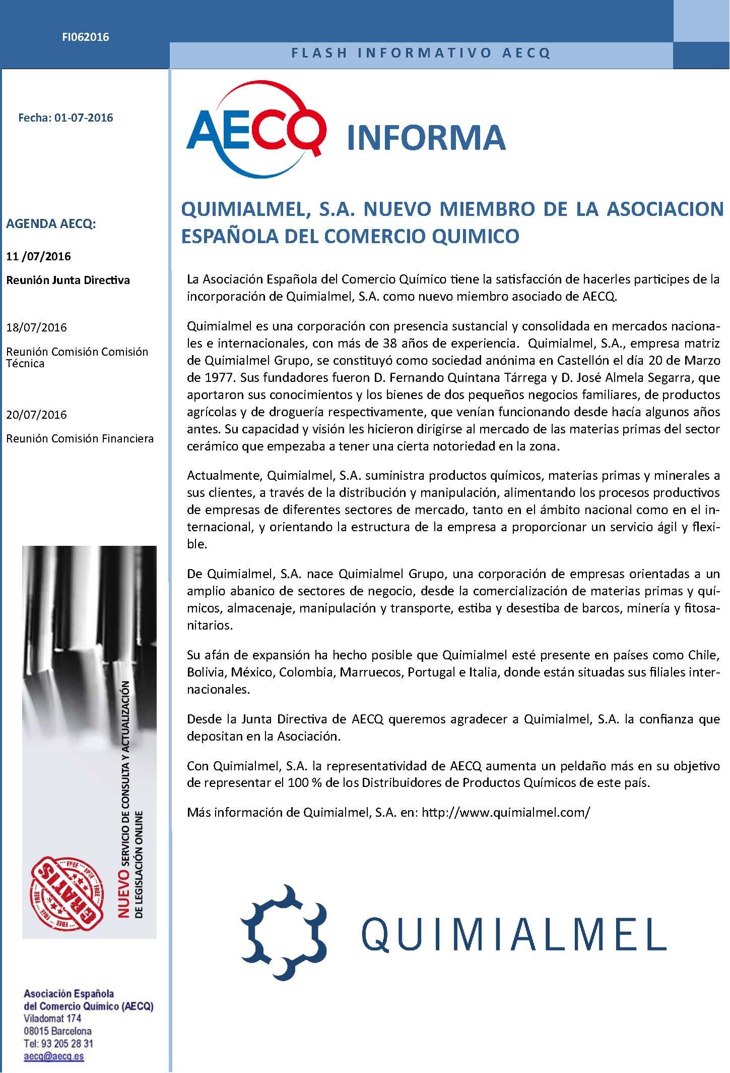 FLASH_INFORMATIVO_AECQ_FI062016_QUIMIALMEL_NUEVO MIEMBRO AECQ
