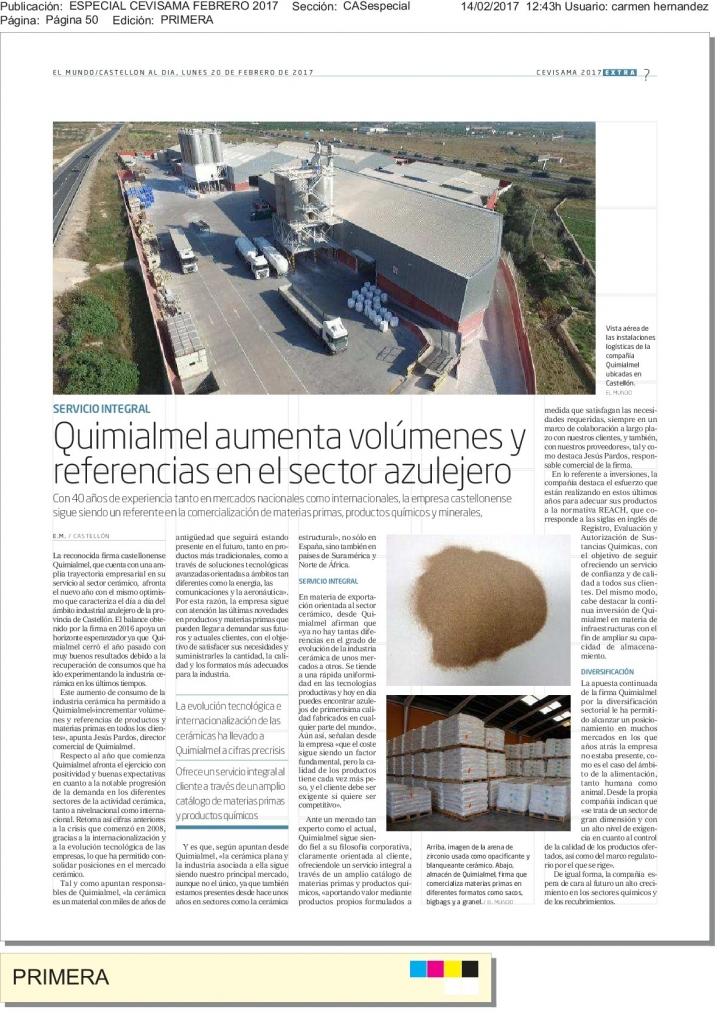 Reportaje Quimialmel Materias Primas para especial Cevisama 2017