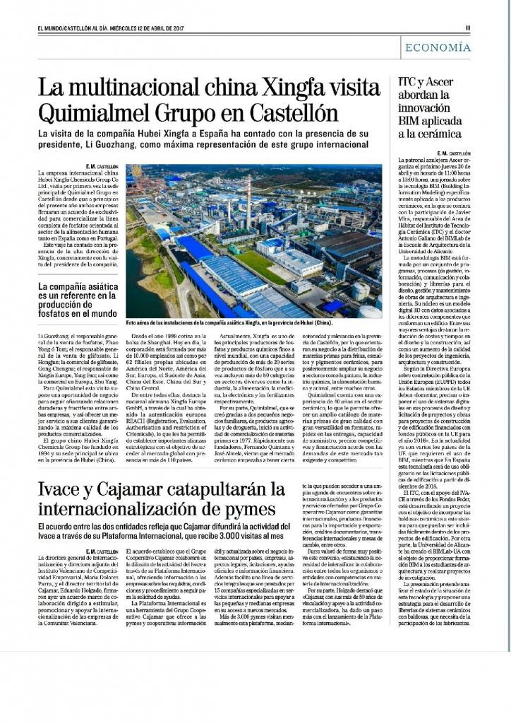 Xinfga, fabricante de fosfatos, visita las instalaciones de Quimialmel Grupo