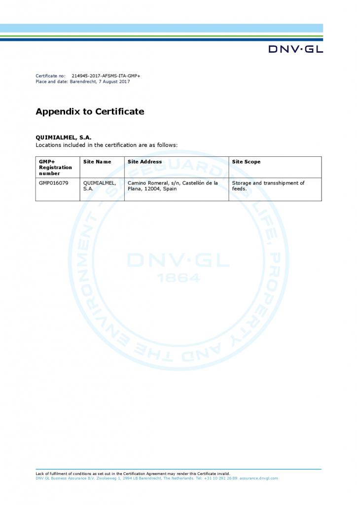Certificado GMP+ Materias primas para Feed