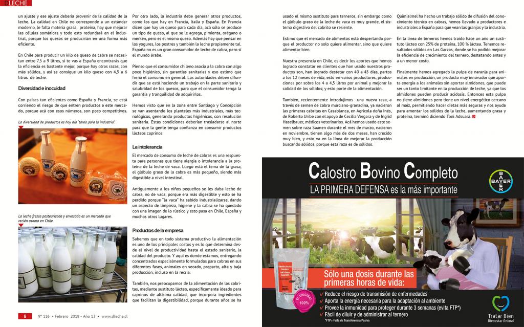 Quimialmel Chile potencia el sector caprino lechero en Chile