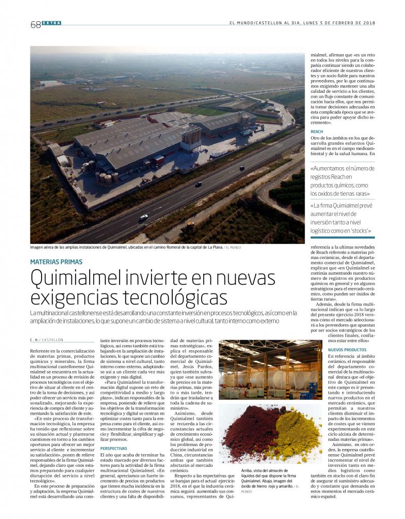 Las materias primas de Quimialmel y la cerámica en Cevisama
