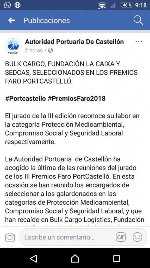 Premio Faro para BulkCargo Logistics por su respeto y protección al medio ambiente.