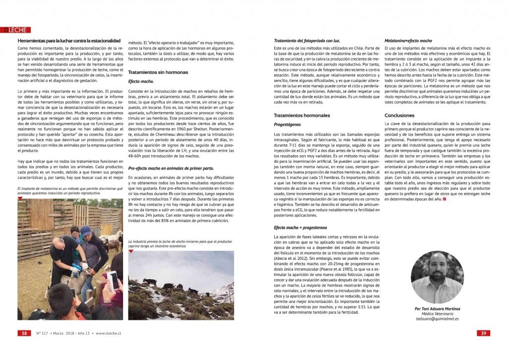 Quimialmel establece los tratamientos a seguir contra la estacionalidad productiva en el caprino lechero