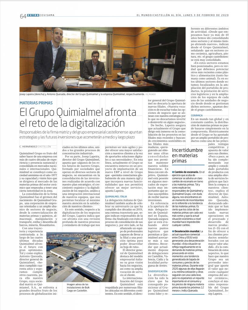 El Grupo Quimialmel afronta el reto de la digitalización ante la incertidumbre de las materias primas en Cevisama 2020